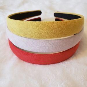 Set of 3 Soft Suede Headbands